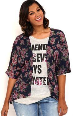 Deb Shops Plus Size Floral Print Kimono $18.75