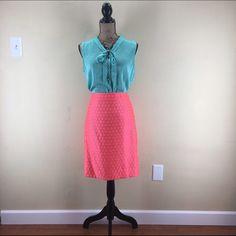 "J. Crew Polka Dot Pencil Skirt J. Crew Factory 'The Pencil Skirt'. Polka Dot pattern in a beautiful vibrant orange!  Lined, back zip, back vent, sits at waist. Size 4. Waist-30"". Length-21 1/2"". Material-50% Polyester, 50% Viscose. Lining 100% Acetate. J. Crew Skirts Pencil"