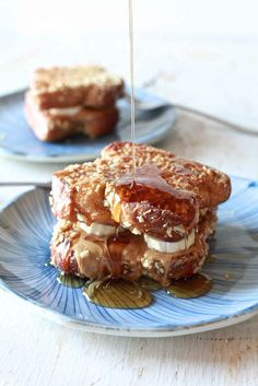 Peanut Butter, Banana & Honey Stuffed Almond Crusted French Toast - Recipe