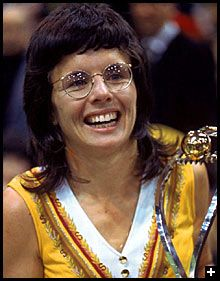 """Opened minds by beating Bobby Riggs in 1973 """"Battle of the Sexes""""; opened doors by helping establish Women's Sports Foundation in Billie Jean King, Iconic Women, Famous Women, Famous People, Jason Collins, Robbie Rogers, Billy Jean, Johnny Weir, Tennis Fashion"""