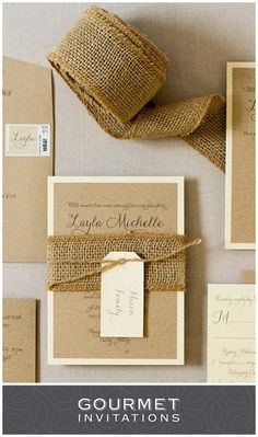 Our rustic invitations were designed for a bat mitzvah. Braided burlap is wrapped around the invitation and held shut with a piece of twine. PIN to your own boards and CLICK through to see the entire suite. Burlap Invitations, Brown Wedding Invitations, Bat Mitzvah Invitations, Wedding Invitation Design, Barn Wedding Inspiration, Wedding Ideas, Barn Wedding Decorations, Twine, Rustic Wedding