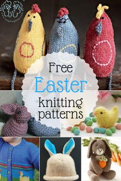 Tons of free Easter knitting patterns at LaughingHens.com!