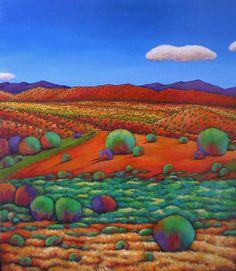 """""""Desert Day."""" Johnathan Harris Fine Art landscape painting of the high desert outside of Santa Fe, New Mexico."""