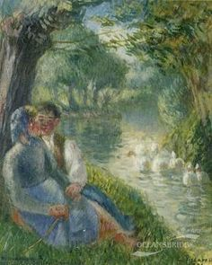 Camille Pissarro Lovers Seated at the Foot of a Willow Tree, 1901 abstract oil painting, painting Authorized official website Claude Monet, Pierre Bonnard, Pierre Auguste Renoir, Edouard Manet, Paul Gauguin, Camille Pissarro Paintings, Carl Spitzweg, Antoine Bourdelle, Gustave Courbet