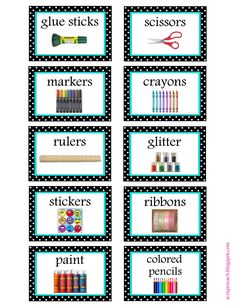 free organization label printables. We won't be needing that glitter label in our house. ;)