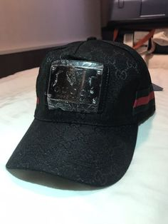 a7b64d922c1 New Original canvas Gucci Hat w  front Silver Plate.