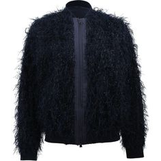 Brunello Cucinelli Summer Fur Bomber Jacket ($2,195) ❤ liked on Polyvore featuring outerwear, jackets, blue bomber jacket, flight jacket, double zipper jacket, blouson jacket and fur jacket
