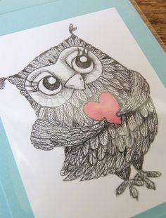 Owl Valentine's Day #owl #Valentine's #Day #Red #pink #heart #love #card #greeting #paper #goods