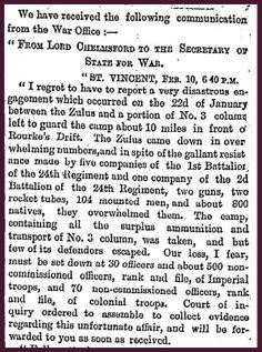 22nd January 1879 - The Zulu War