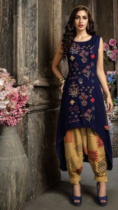 All over embroidered glossy cotton kurti in C-cut