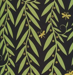 Jane Sassaman Willow Wands Black Garden Divas Fabric 1 yard