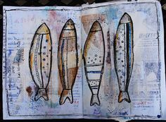 Blue Birdie. Art Journal. Fish.