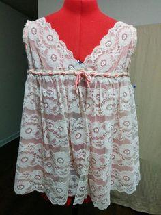 BUY IT NOW! Vintage 60s Babydoll Nightie Beige & Peach Size M Floral Lace & Sheer Nylon  | eBay