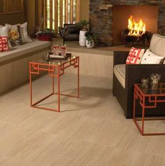 Daltile Vista 12 x 24 in a grid pattern on the floor with Tibetan Slate stacked stone on the fireplace. Available at WCT Design Flooring. Dal Tile, Slate Fireplace, Fireplace Ideas, Wood Look Tile, Commercial Flooring, Floor Design, Basement Remodeling, Porcelain Tile, Outdoor Furniture Sets