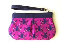 Zipper wristlet clutch  purse with removable  strap   by TinyDaisy