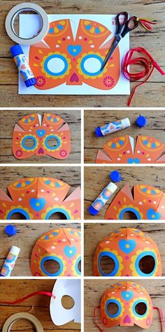 Free printable masks - step by step calavera mask, craft tutorial for Day of the Dead, Dia de los Muertos. Free template here: happythought....