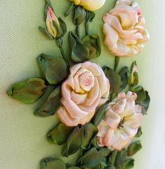 Silk ribbon embroidered roses   roses wall hanging by IriSribbon