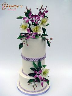 Tarta con Rosas de Navidad y Clemátides - Cake with Christmas Roses and Clematis