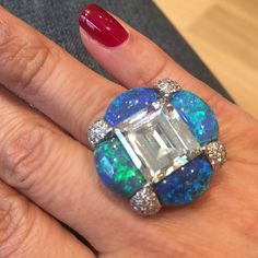 VINTAGE Black Opal and Diamond Ring.…www.yafasignedjewels.com