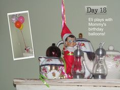 Eli the elf rides balloons to the top of the china cabinet