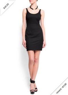Mango Women's Open Back Dress, 10, Black
