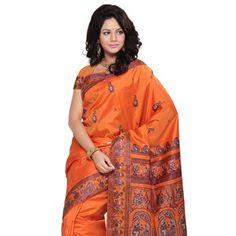 Orange Pure Silk Baluchari Saree with Blouse