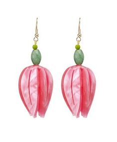 Handmade in England - Unusual lasercut jewellery in perspex and other materials by Tatty Devine. Recycled Bottles, Recycle Plastic Bottles, Flower Earrings, Drop Earrings, Fuchsia Flower, Tatty Devine, Simple Art, Ss 15, Spring Summer 2015
