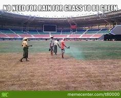 Green, Green Grass Of Football Stadium