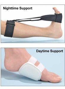This plantar fasciitis splint was specifically designed to relieve foot and heel pain day and night by gently stretching your foot back while you sleep. Touch closure. Fits either foot. One size fits most. Gentle wash. Polyester/neoprene/ foam. Includes FREE arch support for relief throughout the day, anywhere.