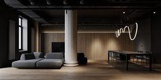 Shaping Slick Dark Interiors With Black & Grey Decor Black Dining Set, Dining Sets, Decoration Gris, Dark Living Rooms, Modern Sectional, Dark Walls, Gray Interior, Contemporary Interior, Dark Interiors