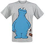 Amazon Angebot Musik Sesamstraße Krümelmonster - Cookie Thief T-Shirt grau meliertIhr QuickBerater