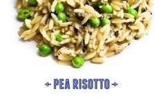 Mushroom and Pea Orzo Risotto Recipe - add parsley, mint, italian seasoning Yummy Pasta Recipes, Risotto Recipes, Side Dish Recipes, Vegan Recipes, Cooking Recipes, Delicious Recipes, Side Dishes, Tasty, Yummy Food