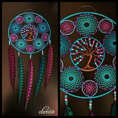 Dream catcher and purple and turquoise tree of life Dream Catcher Patterns, Dream Catcher Decor, Crochet Projects, Craft Projects, Projects To Try, Dreamcatchers, Diy And Crafts, Arts And Crafts, Wire Wrapping Crystals