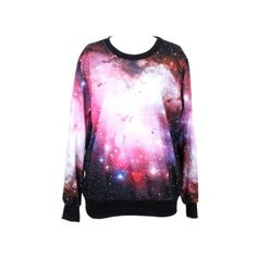 Tparis Galaxy Patterned Sweatshirts Printed Colorful Pullovers Women... ($19) ❤ liked on Polyvore featuring tops, sweater pullover, colorful tops, multi color tops, galaxy top and skull top
