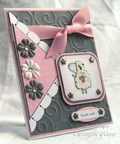Stamps: Pun Fun  Paper: 110lb. white, Going Grey, Pretty in Pink, DP  Ink: Jet Black StazOn, Pretty in Pink  Accessories: Prismacolor pencils, 4mm rhinestones, brads, Primas, Cuttlebug embossing folder, MS edge punch, dimensionals, ribbon, Liquid Aplique, Stickles