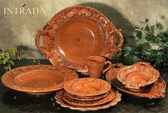 """Old World Tuscan Dinnerware   Baroque Paprika Charger Plate 13.75"""" (A)"""