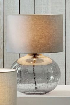 Smoke Grey Bubble Glass Table Lamp from Next
