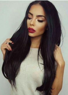 Long Black Hair + fab makeup