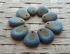 Hand Painted Pebble Beads  Aqua Blue by PlymouthRocks on Etsy