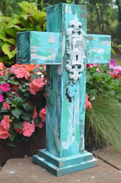 Chunky Wood Cross Stand Up Aqua Distressed by TheSandyBungalow
