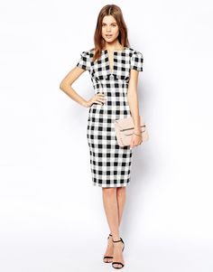 Image 4 of ASOS Sexy Pencil Dress in Check
