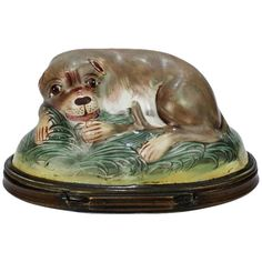 Antique Battersea Bilston Enamel Snuff Box with a Recumbent Pug Dog Lid | From a unique collection of antique and modern boxes at https://www.1stdibs.com/furniture/decorative-objects/boxes/