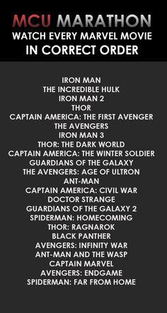 MCU Marathon- Watch Every Marvel Movie in Correct Order