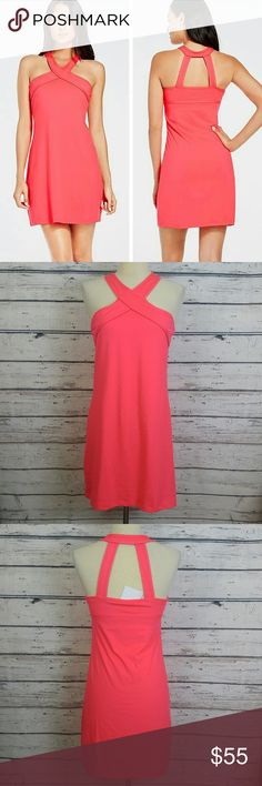 """NWT Fabletics Chicago Dress Hot Coral Small New Fabletics Chicago Dress. Size Small. Channel your feminine side in a sweat-wicking dress with all-way stretch fabric and a built-in bra. Don't be afraid to pick up your speed: a stylish halter strap will hold you in.  Length - 30"""" Fabletics Dresses"""