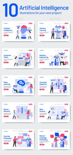 Buy 10 Artificial Intelligence Illustrations by TanahAirStudio on GraphicRiver. 10 Artificial Intelligence Illustration Set of modern flat design concept. Landing page template. Conceptual vector i. Robot Technology, Futuristic Technology, Medical Technology, Energy Technology, Technology Design, Technology Articles, Artificial Intelligence Movie, Artificial Intelligence Algorithms, Machine Learning Artificial Intelligence