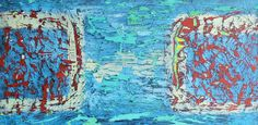 PAUL WESTAWAY, Opposite Harbours, Distressed abstract experiment, ACRYLIC Painting ON IRREGULAR BOARD Size C via Art From Cornwall. Click on the image to see more!