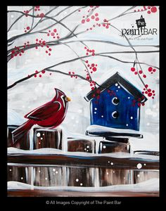 Winter Birdhouse Painting - Jackie Schon, The Paint Bar