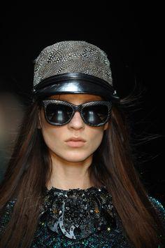 Roberto Cavalli FW 2012-13 runway show - Details. #hat #halloween #sunglasses…