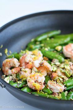 Sautéed Shrimp, Snap Peas & Pistachios with Basil | cookincanuck.com #recipe #healthy
