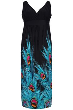 Yoursclothing Womens Plus Size Peacock Feather Print Maxi Dress #YoursClothing #Notspecified
